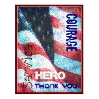 Courage-Héros-Remerciez-vous carte postale de jour