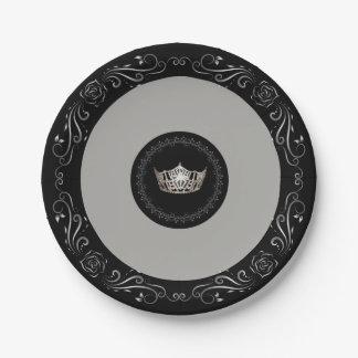 """Couronne argentée grise 7"""" de Mlle Amérique Assiettes En Papier"""