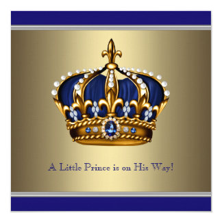 Couronne bleue d'or petit baby shower de prince carton d'invitation  13,33 cm