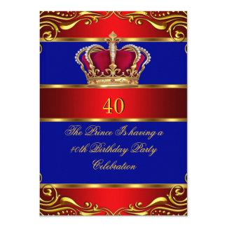 Couronne de bleu de prince King Regal Red Gold de Carton D'invitation 11,43 Cm X 15,87 Cm