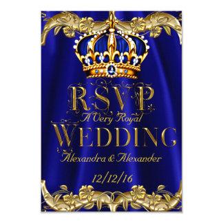 Couronne d'or de mariage de marine de bleu royal carton d'invitation 8,89 cm x 12,70 cm