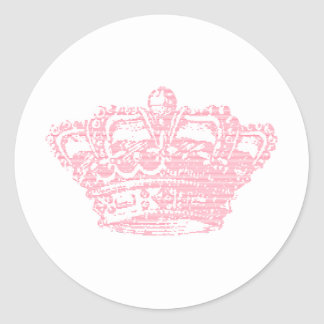 Couronne rose sticker rond