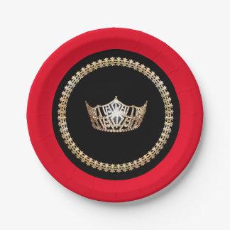 """Couronne rouge 7"""" d'or de Mlle Amérique plaques à Assiettes En Papier"""