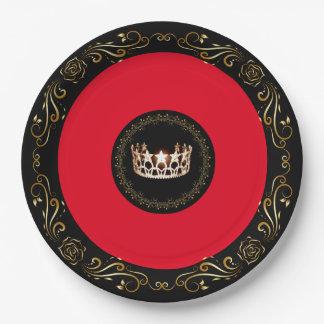 """Couronne rouge 9"""" d'or de la Mlle Etats-Unis Assiettes En Papier"""