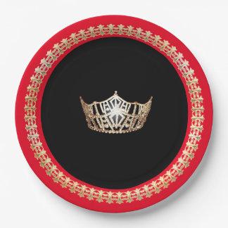 """Couronne rouge 9"""" d'or de Mlle Amérique plaques à Assiettes En Papier"""