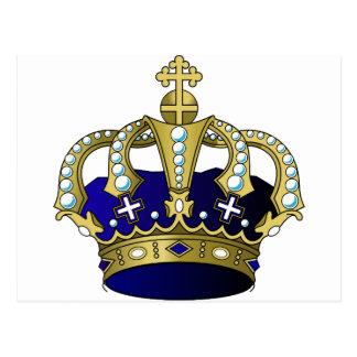 Couronne royale de bleu et d'or carte postale