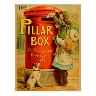 Courrier rouge Postacrd de boîte de pilier de Cartes Postales