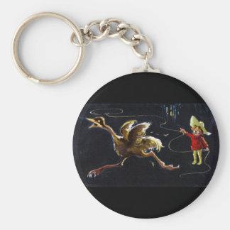 Courses d'oiseau de type avec le lasso porte-clé rond