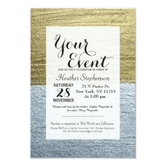 Courses luxueuses élégantes de peinture d'or et carton d'invitation 8,89 cm x 12,70 cm