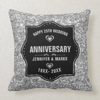 Coussin 25ème Noir d'anniversaire de mariage et