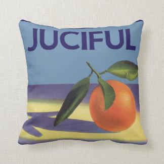 Coussin Art vintage d'étiquette de caisse de fruit,