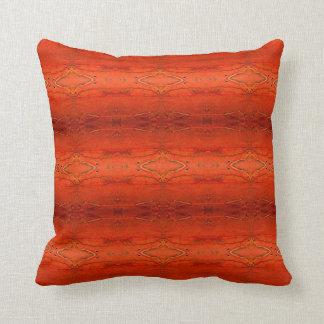 Coussin aztèque orange rustique de motif