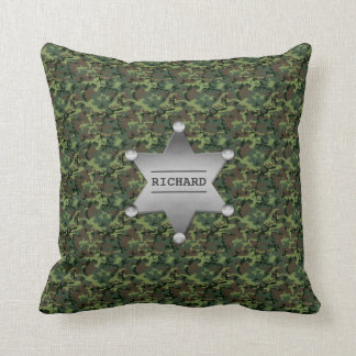 Coussin Badge nominatif vert de shérif de motif de