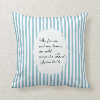 Coussin blanc bleu-clair de vers de bible de 24h15