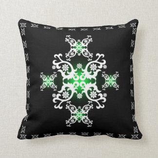 Coussin Blanc celtique de noir de vert de dentelle