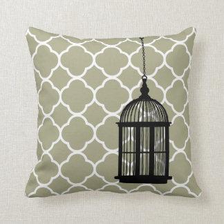 Coussin blanc de décor d'art de cage à oiseaux de