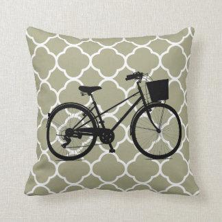 Coussin blanc de décor d'art de vélo de bicyclette