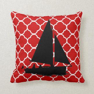 Coussin blanc rouge de décor d'art de bateau à