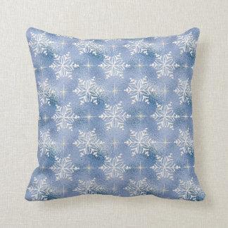 Coussin Bleu avec les flocons de neige blancs
