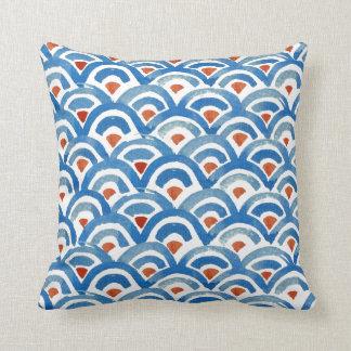 Coussin bleu de Boho et orange éclectique