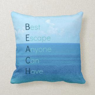 Coussin bleu d'évasion de plage d'océan