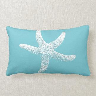 Coussin bleu et blanc d'accent d'étoiles de mer