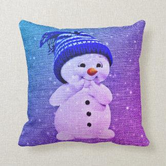 Coussin Bleu pourpre de bonhomme de neige   de carreau