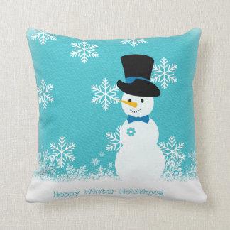 Coussin Bonhomme de neige drôle blanc bleu avec des