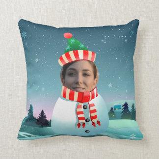 Coussin Bonhomme de neige drôle de Noël avec toute image