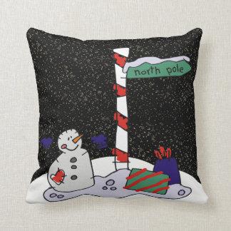 Coussin Bonhomme de neige et Pôle Nord -