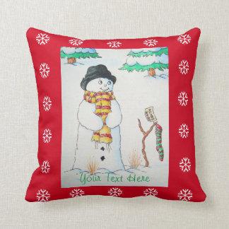 Coussin Bonhomme de neige mignon avec le bas de Noël dans