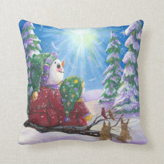 Coussin Bonhommes de neige d'étoile de Noël