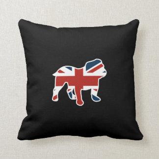 Coussin Bouledogue anglais dans le drapeau d'Union Jack