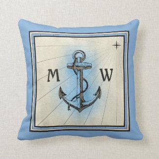 Coussin Boussole nautique bleue vintage d'ancre de