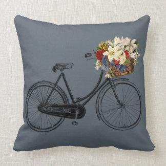 Coussin carreau bleu de fleur de bicyclette de gris