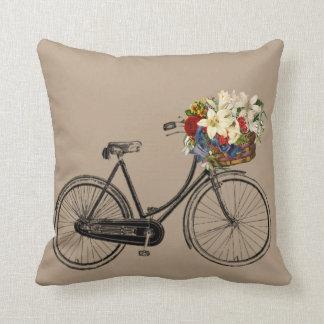 Coussin Carreau brun clair de fleur   de bicyclette