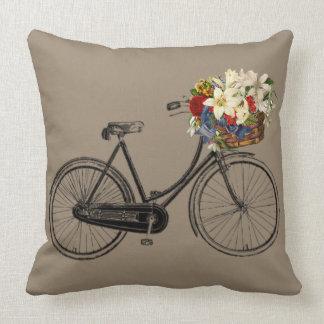 Coussin Carreau brun clair de fleur de bicyclette   de