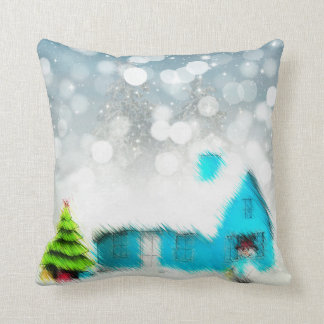 Coussin Carreau de bonhomme de neige de cottage de Noël