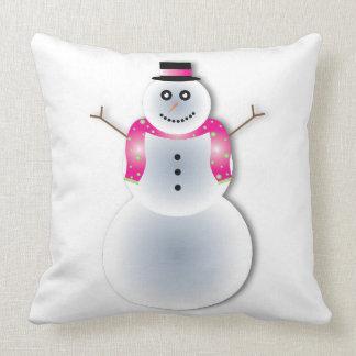 Coussin Carreau de bonhommes de neige de danse de Noël
