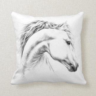 Coussin Carreau de dessin au crayon de portrait de cheval