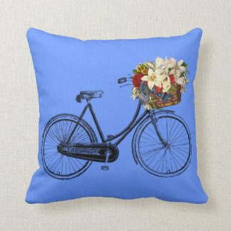 Coussin carreau de fleur de bicyclette de bleu   de ciel