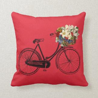 Coussin Carreau de fleur de bicyclette de rouge cramoisi