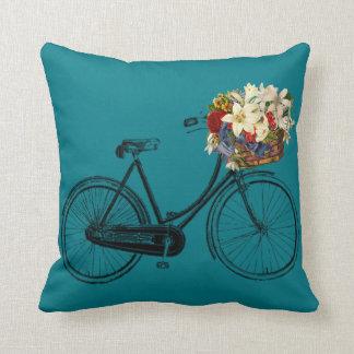 Coussin Carreau de fleur de bicyclette de turquoises