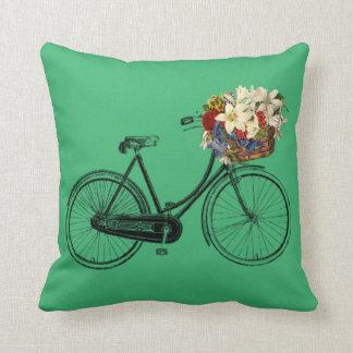 Coussin Carreau de fleur de bicyclette de vert   vert