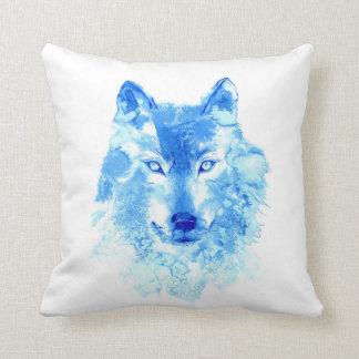 Coussin Carreau de loup d'hiver d'aquarelle