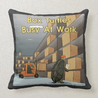 Coussin Carreau drôle de coton de tortue de boîte grand