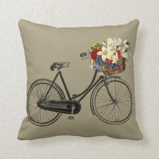 Coussin Carreau en pierre gris de fleur de bicyclette