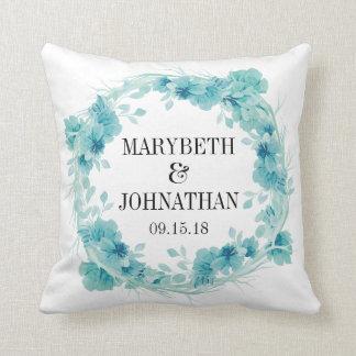 Coussin Carreau floral bleu de souvenir de mariage