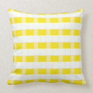 Coussin Carreau jaune et blanc de contrôles dimensionnels