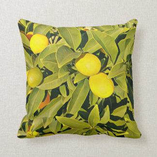 Coussin Carreau jaune et vert de citronnier